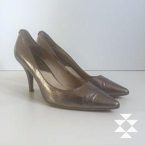 Embossed Silver Leather Heels Pumps 8M